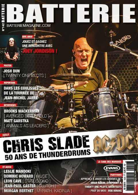 Chris Slade on Batterie French Magazine Cover